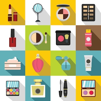 Cosmetics icons set, flat style