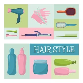 バッグ、化粧品のセット、石膏の影、クリーム、口紅、イラストとピンクのバッグメイクマスター