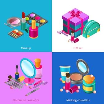 Cosmetics isometric set