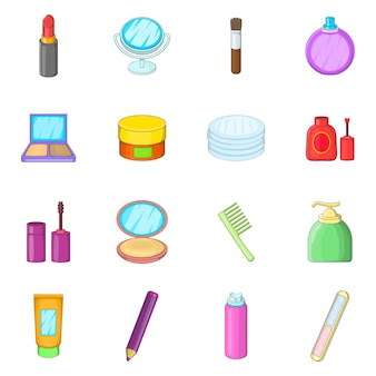 Cosmetics items icons set
