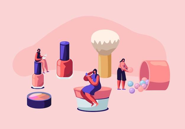 化粧品マスタークラス、フェイスケアと美容。エステティシャンパーラーの女性。サロンでスキンケア製品をテストする女性キャラクター。