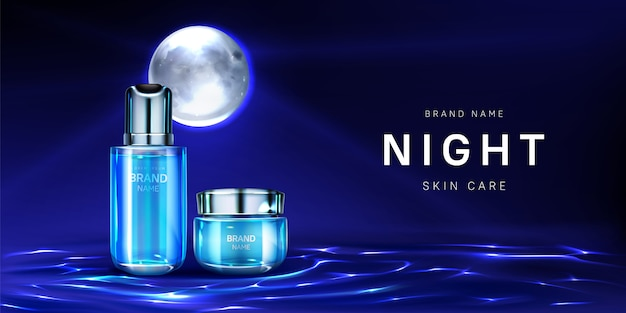 Cosmetics for night skin care banner, cream jar