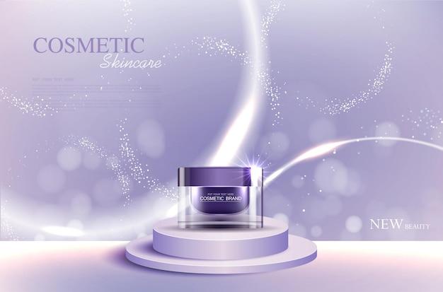 화장품 또는 스킨 케어 골드 제품 광고 보라색 병 및 배경 빛나는 조명 효과 벡터