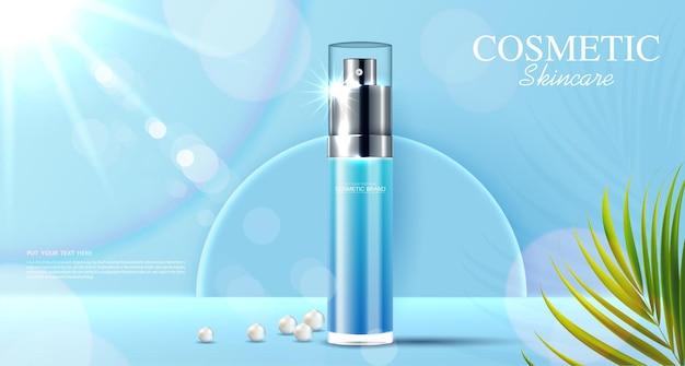 열대 잎이 있는 병 및 진주 파란색 배경이 있는 화장품 또는 스킨 케어 제품 광고