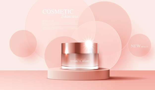 미용 제품 핑크 색상에 대한 병 배너 광고가 있는 화장품 또는 스킨 케어 제품 광고
