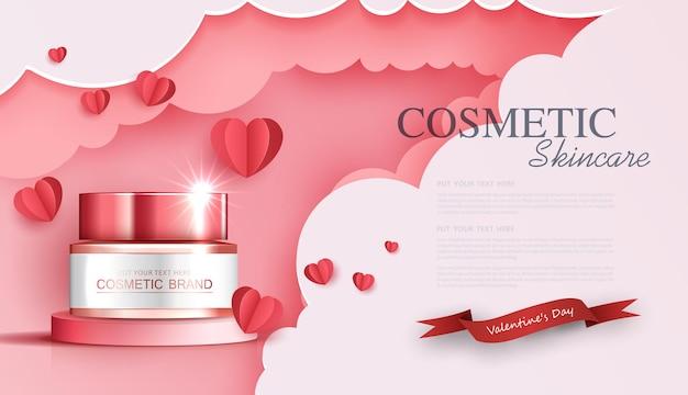 사랑의 종이 예술이 있는 미용 제품에 대한 병 배너 광고가 있는 화장품 또는 스킨 케어 제품 광고