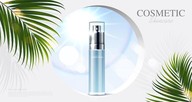 열대 잎 벡터가 있는 병 파란색 배경이 있는 화장품 또는 스킨 케어 제품 광고