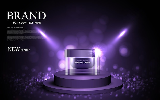 ボトル紫の背景のきらびやかな光の効果のベクトルと化粧品やスキンケア製品の広告