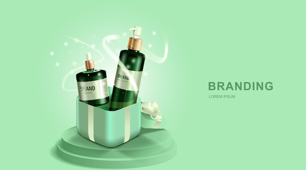 Косметика или средства по уходу за кожей. бутылка и подарочная коробка с зеленым фоном.