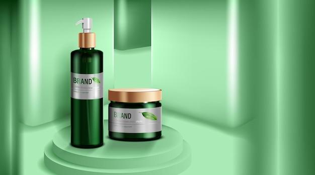 화장품 또는 스킨 케어 제품. 녹색 병 및 녹색 벽 배경입니다.