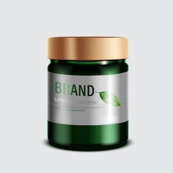 화장품 또는 스킨 케어 제품. 녹색 병 모형 및 격리 된 흰색 배경입니다. 삽화.