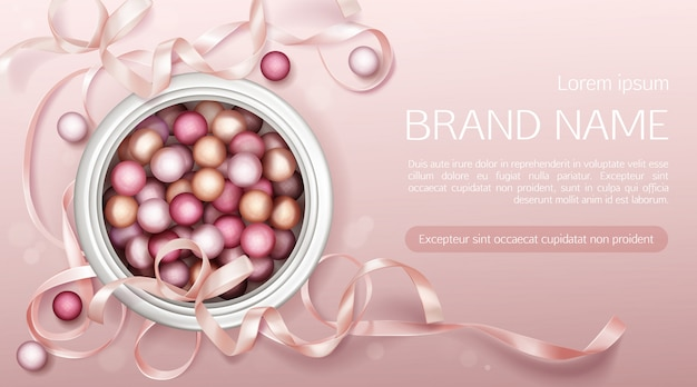 Cosmetics pearls with ribbon