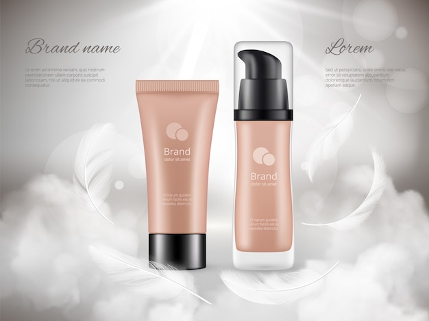 Cosmetics poster. skin cream plastic bottles night clouds feathers steam luxury promotional advertizing realistic