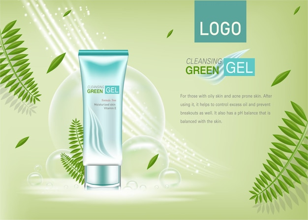 Cosmetics or  product ads with bottlegreen leaves and green background glittering light effect
