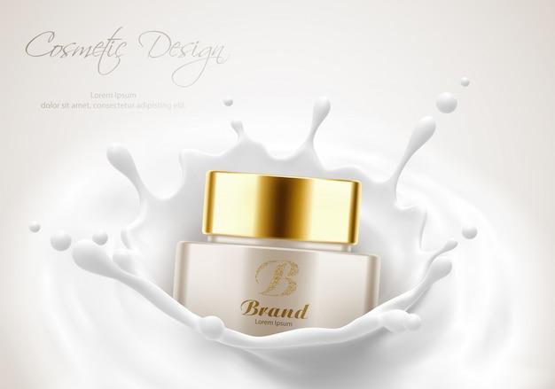 화장품 제품 광고 포스터 템플릿, 우유 스플래시의 아름다움 피부를위한 크림 용기. 패키지 모형. 현실적인 3d 벡터 일러스트 레이 션