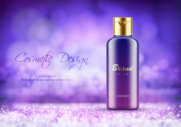 Cosmetics product advertising poster template. luxury plastic bottle for cream or shower gel. package mockup. realistic 3d vector illustration on purple bokeh background