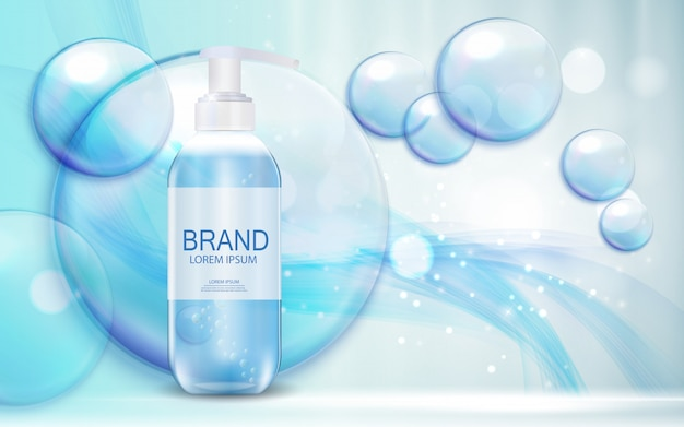 Cosmetics product  template for ads or magazine background. antibacterial gel, soap bottle  realistic  illustration