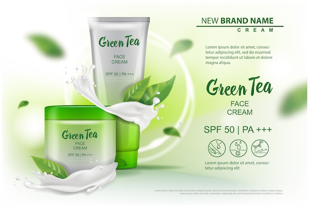 Cosmetics product with green tea extract advertising for catalog, magazine.   of cosmetic package.