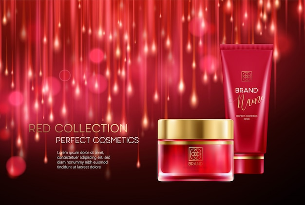 Cosmetics products with luxury collection composition on red blurred bokeh background.