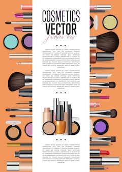 Cosmetics promo poster template title page vector template