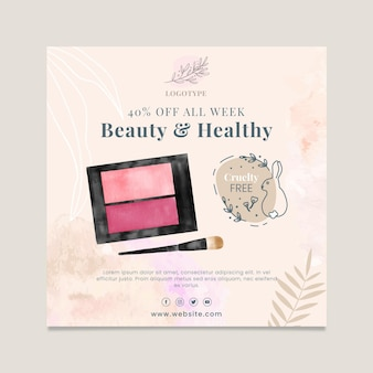 Cosmetics sale square flyer template