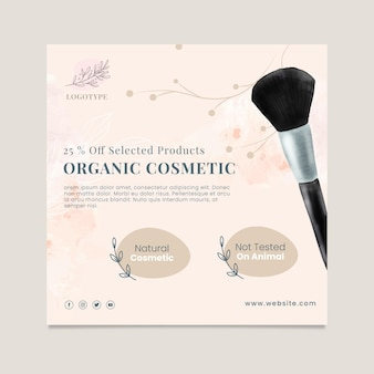 Cosmetics sale square flyer template