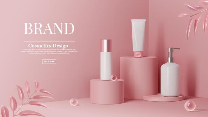 化粧品はピンクのシリンダー表彰台ステージと3dの葉にボールガラスで広告を設定します