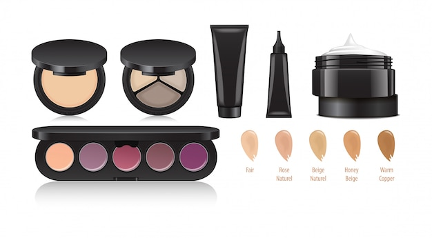Cosmetics set. eye, lips, face makeup. eyeshadow, eyeliner, creme, face powder, concealer.   products. universal templates for branding and advertising