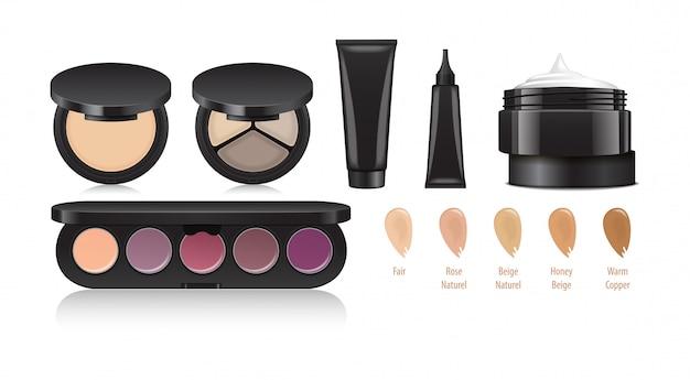 化粧品セット。目、唇、顔のメイク。アイシャドウ、アイライナー、クリーム、フェイスパウダー、コンシーラー。製品。ブランディングと広告のためのユニバーサルテンプレート