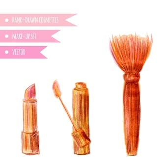 화장품 세트 립스틱, 립글로스, 브러시 블렌더 : 손으로 그린 메이커 개체를 구성하십시오. 벡터 격리 된 아름다움 그림