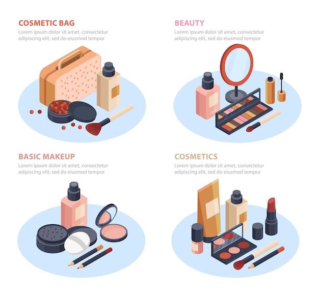 Cosmetics set isometric illustrations isolated on white