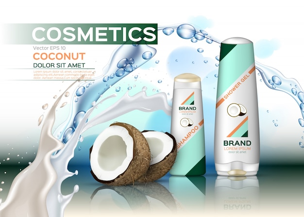Cosmetics set package with coconut milk