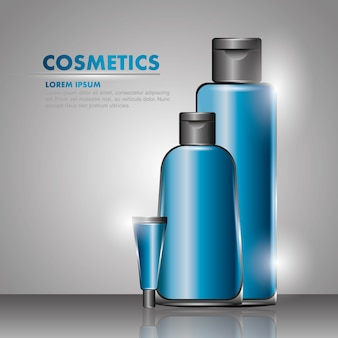 Cosmetics shampoo grl tube cream gray background