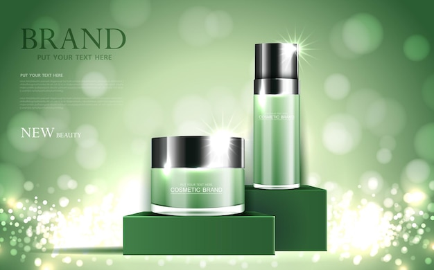 Cosmetics or skin care gold product ads green bottle and background glittering light effect vector
