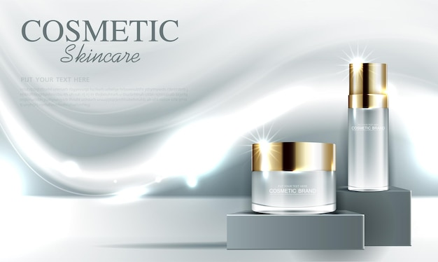 Cosmetics or skin care gold product ads with bottle and gray background glittering light effect