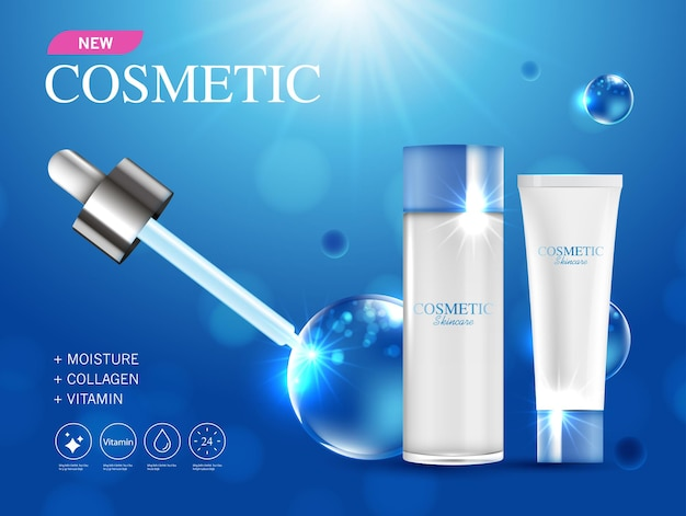 Cosmetics or skin care product ads with bottle and blue background glittering light effect vector