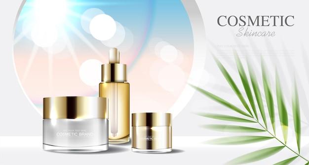 化妆品或护肤产品的广告带一瓶蓝色背景热带树叶矢量