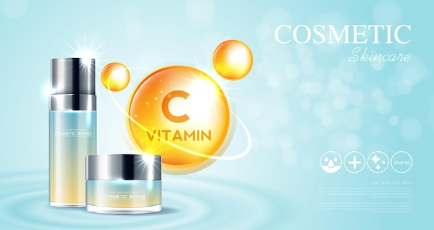 Cosmetics or skin care vitamin c product ads with bottle and blue background glittering light effect