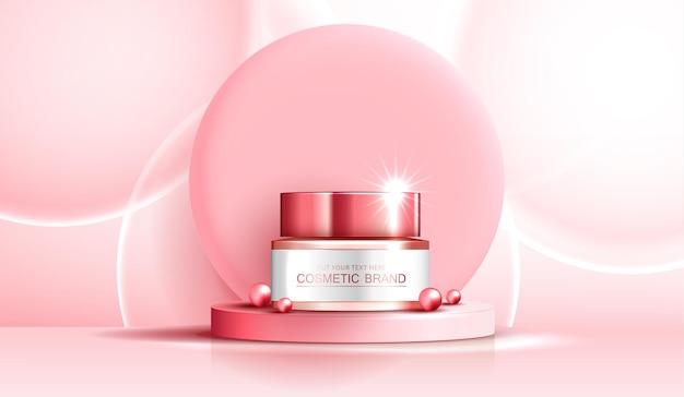 화장품 스파 또는 스킨 케어 제품 광고에는 병, 미용 제품 배너 광고, 분홍색 진주, 분홍색 배경 빛나는 조명 효과에 거품이 있습니다. 벡터 디자인입니다.