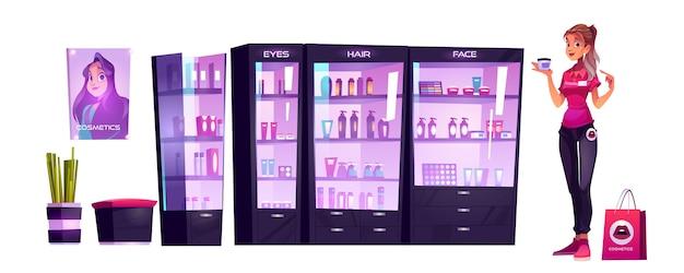 化粧品店のアシスタントが美容室でメイクやスキンケアの制作を行っています。店員は、棚にボトルを置いたショーケースで化粧用クリームジャースタンドを持っています。女性のための商品漫画ベクトルイラスト