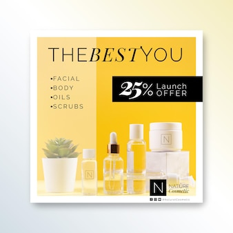 Cosmetics store square flyer template