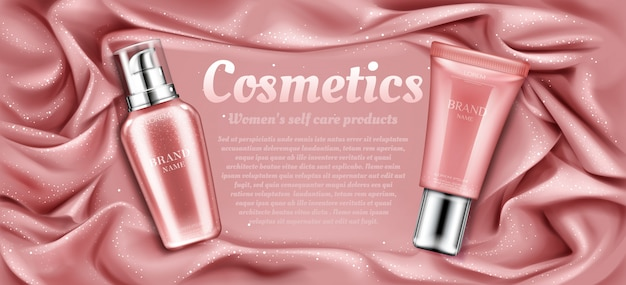 Cosmetics tubes advertising, natural spa beauty product