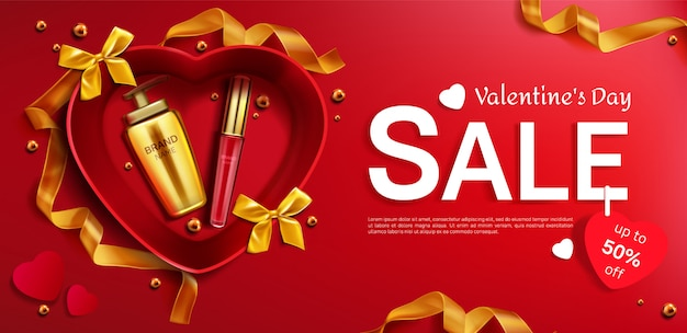 Cosmetics valentine day sale red background