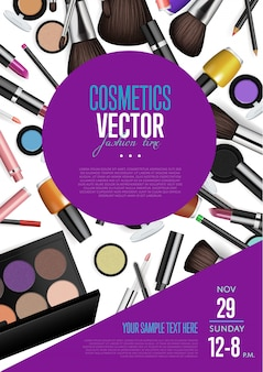 Cosmetics vector promo flyer with date and time