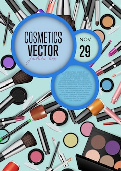 Cosmetics vector promo poster template with date and time