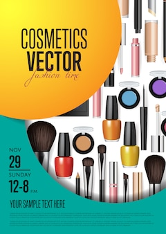 Cosmetics vector promo poster with date and time