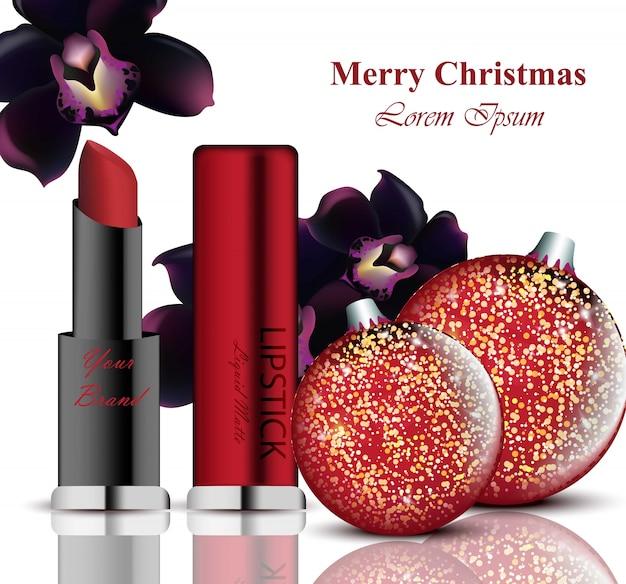 화장품 벡터 realistick. 립스틱과 마스카라 패키지. 크리스마스 공은 배경. 다채로운 상세 제품