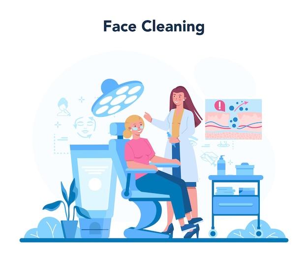 미용사 개념, 얼굴 청소 및 치료. 피부 문제를 가진 젊은 여자.