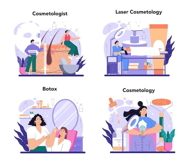 美容師のコンセプトセットのスキンケアと治療手順