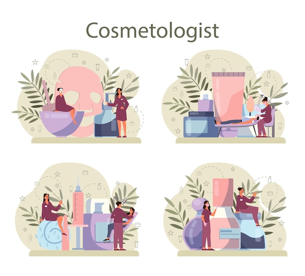 Cosmetologist concept set, skin care and treatment.